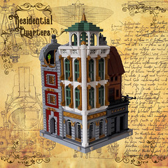 Residential Quarters - Corner 1 (Zilmrud) Tags: moc lego modular building steam punk steampunk ruins san victoria swebrick house
