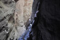 Deutschland Sächsische Schweiz DSC_0535 (reinhard_srb) Tags: deutschland sächsische schweiz abstieg polenztal wolfsschlucht hockstein eisentreppe stufe geländer engen steine felsen schatten licht sandstein kühl