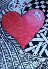 Coração (emanuellelena) Tags: coração atc zia zentangle