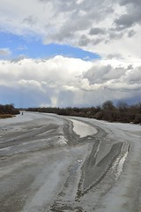 Frozen Yellowstone River (l i v e l t r a) Tags: mt df 35mmf18g f9 nikkor montana yellowstone river frozen zigzag ice water flow sky blue bridge trees nature natural icy clouds cold freezing