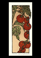 Tomato (Japanese Flower and Bird Art) Tags: flower tomato solanum lycopersicum solanaceae yoshiko yamamoto modern woodblock print japan japanese art readercollection