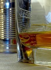 'A Toast' and tin! (jesse1dog) Tags: kitchen macromondays happy10years cardhu whisky glass amber liquid reflection refraction macro tin metal anniversary