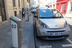 day twenty-six: marais (dolanh) Tags: france bluecar electriccar paris chargingstation marais