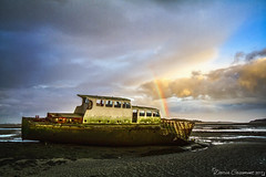 Boat wreck (dareangel_2000) Tags: dariacasement boat wreck marine codown dundrum northernireland bay sand sea water goldenhour magichour seascape march 2017 boatwreck rusty crusty whereinireland wowiekazowie clouds inanimate coolbeans atmosphere mood country reflections abandoned rainbow beautifullight light colour
