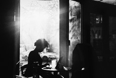 DR4-052-24A (David Swift Photography Thanks for 21 million view) Tags: davidswiftphotography philadelphia westphiladelphia coffeehouse cafe candidportrait student windows surreal 35mm leicaminilux ilfordxp2