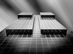 Lego (TS446Photo) Tags: london longexposure architecture glass clouds shine black white reflection block