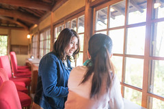 Two women in cafe talking in the morning (Apricot Cafe) Tags: img28635 1819years 3034years asia asianandindianethnicities cafe japan japaneseethnicity kyotojapan sigma35mmf14dghsmart bright casualclothing charming cheerful day enjoyment freedom friends happiness horizontal indoors lifestyles onlywomen photography relaxation restaurant smiling springtime sunlight talking teenager togetherness toothysmile twopeople waistup weekendactivities window women youngadult kyōtoshi kyōtofu jp