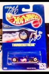 #15-41(B), INDY, IRL, CART, Ed Carpenter, and Honda driver Signing #15-41, Hot Wheels, 1991, Thunderstreak, Collector #153 (Picture Proof Autographs) Tags: 1541 indy irl cart edcarpenter andhondadriversigning1541 hotwheels 1991 thunderstreak collector153 diecast blisterpack with pictureproofphotos ppp