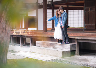 Young couple dating in temple