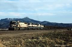 BNSF 9647 9690-9669, Trinidad, CO. 4-16-1997 (jackdk) Tags: train railroad railway locomotive emd emdsd75m sd70 sd70mac bn bnsf burlingtonnorthern colorado trinidad trinidadcolorado coal coaltrain coaldrag barf warbonnet barfbonnet