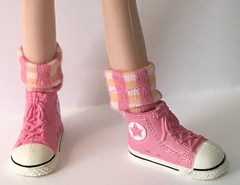 Peach and Pink Short Socks... For Blythe...