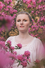 Bloom (Louisa H) Tags: flowers portrait woman sun white girl shirt model availablelight romantic cari rombergpark