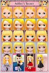 Neo Blythe: Comparison of Ashley's Secret (AS), Feel the Sky (FTS), Cousin Olivia (CO) and Cute & Curious (CuCu)