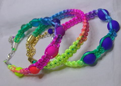 Color play - Summer rat tail bracelets (klio1961) Tags: iris beautiful arcoiris cord diy beads handmade unique oneofakind jewelry bracelet string imadethis everyday madebyme authentic imadeit artesania vividcolors unico joyas pulseras hechoamano xantres nicelittlethings rattailcord kosmimata braxiolia xeiropoiito
