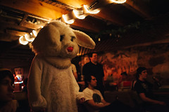 Happy Easter (BurlapZack) Tags: show portrait music rabbit bunny beer furry downtown fuzzy bokeh availablelight tx livemusic basement eerie creepy pizza flashback suit archives venue denton pizzaparlor unt easterbunny unsettling thesquare happyeaster reedit dentontx canonef35mmf14lusm rabbitcostume jjspizza sadrabbit canoneos5dmarkii vscofilm olddirtybasement donotrememberthis the800lbrabbitintheroom justignorehimmaybehellgoaway