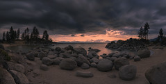 Clouds symbolize the veils that shroud God… (ferpectshotz) Tags: sunset lake storm beach clouds twilight laketahoe alpinelake easternsierra sandharborbeach