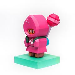 วิธีทำโมเดลกระดาษตุ้กตาคุกกี้รัน คุกกี้รสสตอเบอรี่ (LINE Cookie Run Strawberry Cookie Papercraft Model) 043