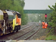Colas Rail 70802 waits to proceed into the work site (robertbester66) Tags: spaldingstation colasrail 70802 spalding railways