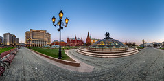 Panorama of Manege Square and Moscow Kremlin in the Evening, Moscow, Russia (ansharphoto) Tags: street old city travel red sky urban panorama sculpture building tower history monument fountain statue electric skyline museum architecture night square lights evening town george twilight cityscape dragon russia outdoor dusk citadel moscow traditional famous culture pedestrian landmark illuminated soviet cupola dome historical russian saintgeorge kremlin manege moskva manezhnaya okhotnyryad