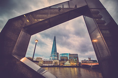 London Framed (Jamie Frith) Tags: city uk travel bridge light england colour reflection london water thames architecture clouds skyscraper river nikon cityscape wide frame d800 lightroom 1424 theshard londonbridgequarter