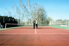 Still Charon - Tennis Court 1 (Ludovic Macioszczyk Photography) Tags: world life camera light boy portrait people  music sun france records color art film colors girl analog 35mm canon vintage court hair outside photography 1 photo spring still exposure shoot photographie kodak ae1 lumire no cam burger duo 28mm wide band scan iso tennis photographs 400 sound indie keep alive florian 135 charon camille portra 87 flo vie argentique appareil limousin fd limoges 2014 polychrome ludovic ngatif pellicule ludos dveloppement macioszczyk