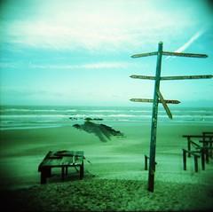 IMG_0001 (spoeka) Tags: sea holland beach sign strand analog square holga lomo xpro lomography sand meer thenetherlands slide dia schild analogue expired 120mm wegweiser stmaartenszee holgacfn mittelformat kodakektachromee200
