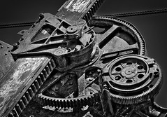 Geared (arbyreed) Tags: old blackandwhite bw machine disused gears oldtechnology powershovel machinegears miningmachine arbyreed