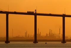 Saint-Nazaire bridge at sunrise (Philippe POUVREAU) Tags: bridge sunset river pont loire saintnazaire 2014 estuaire loireatlantique saintbrévin pontsaintnazaire saintbrevinlespins