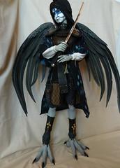 Yoikaze, Tengu Queen, complete (angelynx_prime) Tags: wings doll mask ooak armor warrior bjd crow soom mythology tengu warriorqueen youkai yokai fantasydoll japanesemythology resindoll