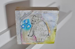 Day 150 - 365 project (artisserie) Tags: bear illustration pencil mixedmedia oilpastels woodblock bookpages artisserie