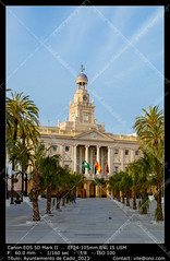 City hall of Cadiz, Spain (__Viledevil__) Tags: old city travel blue sky urban cloud building tower clock architecture town hall spain europe cityscape exterior outdoor cityhall traditional culture landmark historic cadiz council government townhall andalusia municipal citycouncil towncouncil
