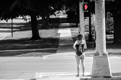 Waiting to cross (.Chris Lee) Tags: road street trees people woman sign trafficlight nikon midwest crossing phone traffic sunny iowa sidewalk telephoto stop intersection nikkor crosswalk selective grinnell selectivecolor halt 55200mm nikondx nikkor55200mm d7000 nikond7000