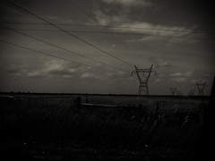 Robots_of_the_Sky240514_34 (Immortal Zoddo) Tags: light sky blackandwhite bw nature clouds dark blackwhite fuzzy gothic goth grain ground robots powerlines gloom grainy guardian obscure guardians