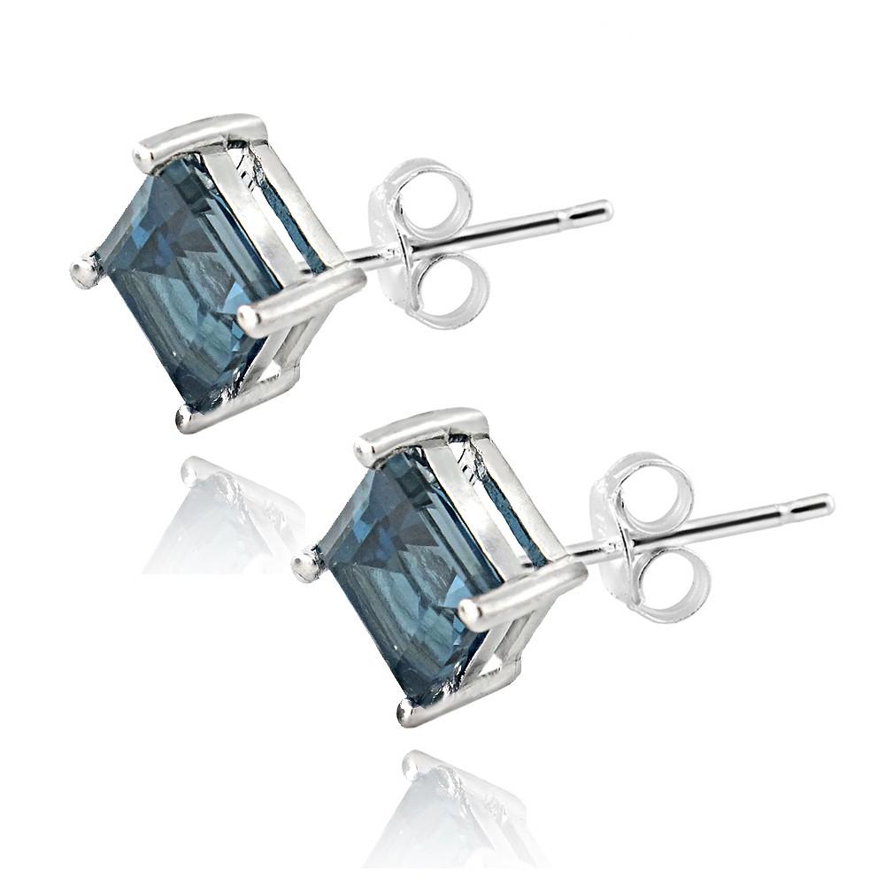 925 silver square 26ct london blue topaz diamond shape