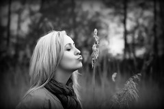Kissing the nature (annaosu1) Tags: portrait white nature girl field model weed woods kiss kissing outdoor smooth blac