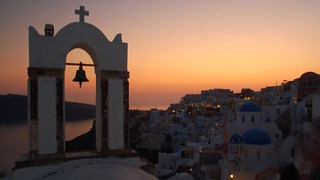 sundown behind the churches of Oia