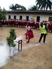 The use of fire extinguishers.
