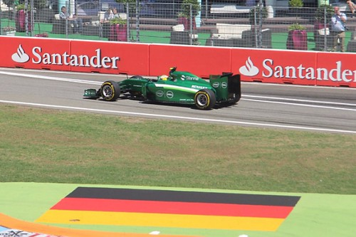 Marcus Ericsson leaves the pits in his Caterham at Hockenheim