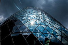 The Gherkin (RenaldasUK) Tags: street city uk england sky sun reflection london architecture clouds skyscraper canon buildings handheld tall 28 gherkin ver2 scraper 6d 2470