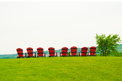 Red Chairs (Rackelh) Tags: chairs sky winery meaford ontario canada chair red green