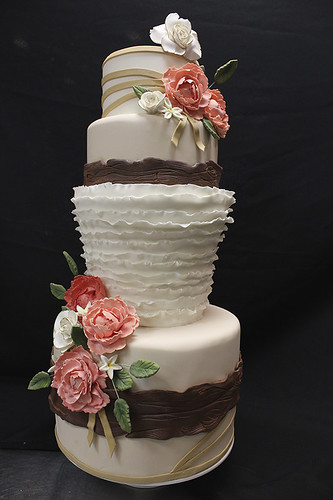 Spring Peony Wood Bark Wedding Cake