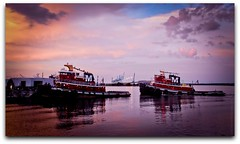 The Moran Sisters... (Brad Worrell) Tags: shop boat florida dusk vessel jacksonville tug nightfall