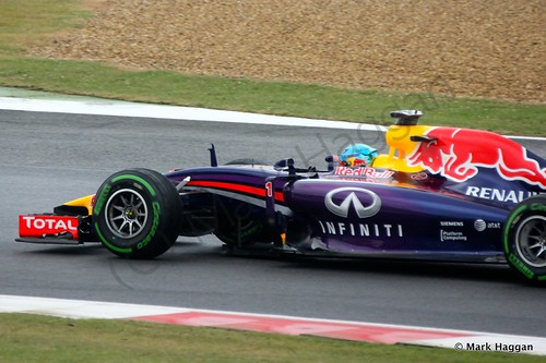 Sebastian Vettel in his Red Bull during qualifying for the 2014 British Grand Prix