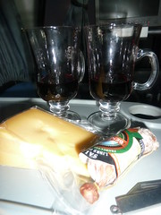 Wine, cheese and salami in the bus