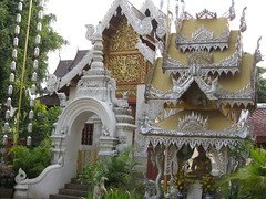 Loved the gold- silver colouring of this wat (shankar s.) Tags: thailand southeastasia buddhism chiangmai wat highstreet buddhisttemple norththailand buddhistshrine buddhistreligion watsrisuphan chiangmaistreet buddhistfaith silverubosot chiangmaitraffic downtownchiangmai