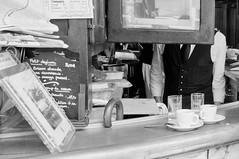 A en perdre la tte (Bomboclack) Tags: door people blackandwhite bw man paris france streets men glass caf headless breakfast bar dinner french lunch photography