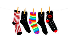 More Orphan Socks (Brenda Carson_songbird839) Tags: blue red orange white black cute green wet stockings fashion yellow socks lost one rainbow missing pattern different purple heart five row lips line orphan clothes clean odd whitebackground wash laundry stray hosiery hanging clothesline isolated striped hung polkadot clothespins drying clothespeg unmatched studded anklesocks washline