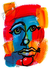 You Have to Face Yourself First (Tonya Doughty) Tags: acrylic abstractportrait primarycolor painting