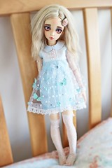 Lux (candy×kicks) Tags: bjd abjd minifee mio alpaca wig pastel pink blue white hearts resin butterflies pearls oscar doll eyes flower vampire fangs msd cafe au lait