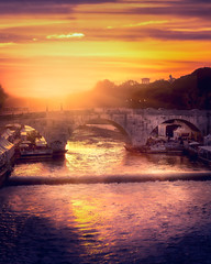Tíber (Juan Figueirido) Tags: rome roma italia italy bridge puente tiber rivertiber sunset puestadesol lazio river fz1000